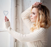 Woman Waiting her Love Stock Images