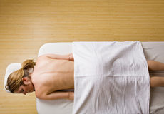 Woman waiting for massage Stock Image