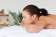Woman waiting for a massage Stock Photos