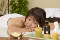 Woman waiting for massage at health spa Royalty Free Stock Photography