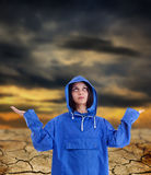 Woman waiting for rain, Stock Image