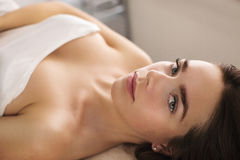 Woman is waiting for skin care treatment Royalty Free Stock Images