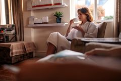 Woman waiting for spa treatment stock image