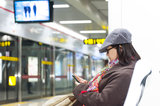 woman waiting for subway Royalty Free Stock Photos