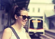 Woman waiting at subway station Royalty Free Stock Images