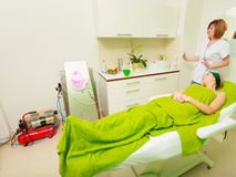 Woman waiting for therapy in beautician Royalty Free Stock Photography