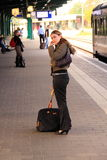 Woman waiting for the train Stock Image