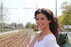 Woman waiting for train Stock Image