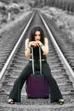 Woman waiting for train Royalty Free Stock Image