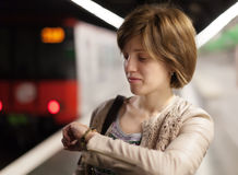 Woman waiting train Royalty Free Stock Images