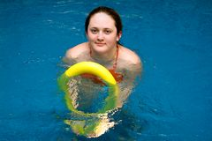Woman waiting training in water Royalty Free Stock Photo