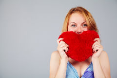Woman waiting for Valentine's Day Stock Image