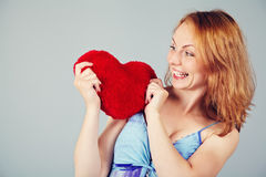 Woman waiting for Valentine`s Day Royalty Free Stock Image