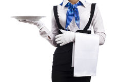 Woman waitress Stock Image