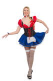 Woman waitress in oktoberfest Royalty Free Stock Photos