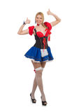 Woman waitress in oktoberfest Royalty Free Stock Image