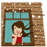 Woman waits at a window Royalty Free Stock Images
