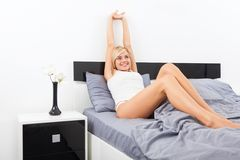 Woman wake stretching raised arms hands up Royalty Free Stock Photos