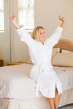 Woman wake up royalty free stock photos