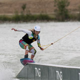 Woman wakeboarding Stock Photo