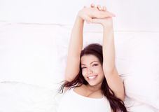 Woman waking up Royalty Free Stock Photos