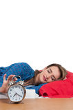 Woman waking up Stock Images