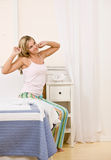 Woman waking up in the morning Royalty Free Stock Photography