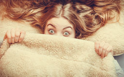 Woman waking up under wool woolen blanket. Royalty Free Stock Images