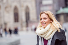 Woman on a walk in centre of the city. Winter Royalty Free Stock Images