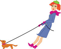 Woman walk with a dog Stock Photos