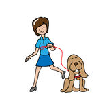 Woman walk the dog Royalty Free Stock Photo