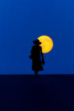 Woman walk moon small Royalty Free Stock Photos