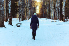 Woman walk park winter snow back royalty free stock photo