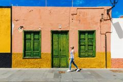 woman walk Puerto de la Cruz city streets Royalty Free Stock Image