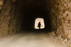 Woman walked cave Stock Photo