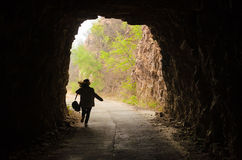 Woman walked cave Royalty Free Stock Images