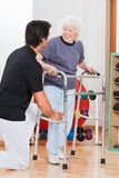 Woman With Walker Looking At Trainer Stock Images