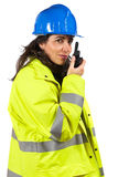 Woman with walkie talkie Royalty Free Stock Photos