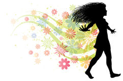 Woman Walking. An illustration of a walking women with flower trails behind her Stock Image