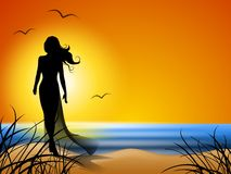 Woman Walking Alone on Beach. An illustration featuring a beach scene at sunset with water, sand, sun, and gulls flying. In this version, a woman is walking Royalty Free Stock Images