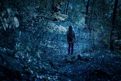 Free Woman Walking Alone On Path In Mystic Dark Forest. Lonely Adult Girl In Strange Creepy Park At Night In Autumn Royalty Free Stock Photography - 160399997