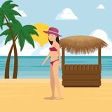 Woman walking along the beach design. Woman walking along the beach summer vacation vector illustration graphic design Royalty Free Stock Photo