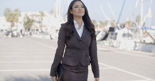 Woman Walking Along The Quay With Yachts Royalty Free Stock Images