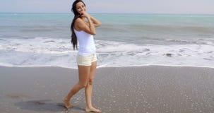 Woman Walking Along Shore of Tropical Beach stock video