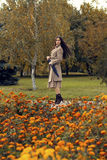 Woman walking in the autumn park with umbrella Royalty Free Stock Image