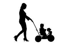 Woman walking with baby buggy. Silhouette woman baby buggy over white Stock Photography