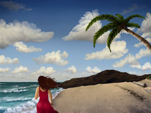 Woman Walking On The Beach. Illustration of a woman in a red dress walking along a tropical beach surrounded by palm trees under a cloudy sky Stock Images