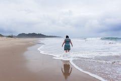 Woman Walking Beach Ocean Stock Photos