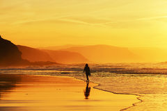 Woman walking on beach Stock Photography