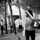 Woman walking in Beaubourg quarter Royalty Free Stock Images